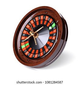 Casino gold roulette stopped close up side view with white ball. 3d rendering illustration. Isolated on white background