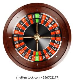 Casino gold roulette stopped close up with white ball. 3d rendering illustration. Isolated on white background