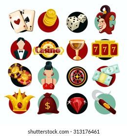 Casino icons set with roulette cigar jocker slot machine isolated  illustration
