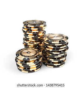 casino luxury chips in gold and black with diamond inserts on a white background. 3d render image