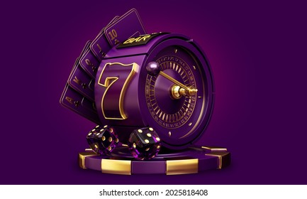 casino mix slot machine roulette dice set card chips 3d render 3d rendering illustration