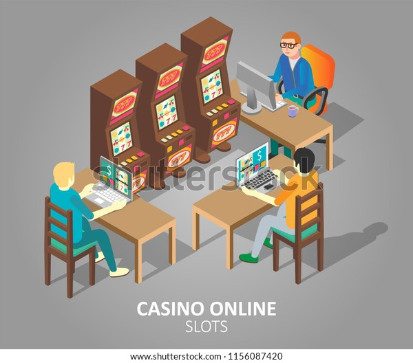 Casino online slots concept. Isometric illustration of gamblers playing online slot game on desktop computer and laptop.
