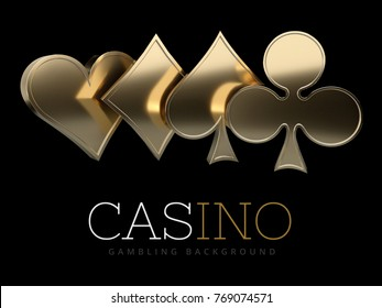 Casino poker card suits. isolated black, 3D Rendering.