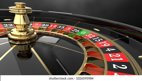 Casino roulette black wheel background . 3D render