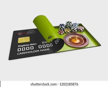 Casino roulette with chips on the credit card 3d Illustration