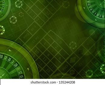 casino roulette green horizontal background illustration
