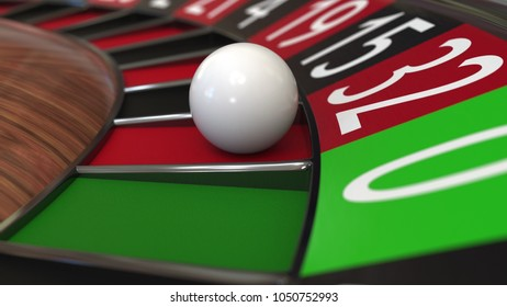 Casino roulette wheel ball hits 32 thirty-two red 3D rendering