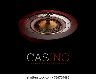 Casino Roulette Wheel with a ball. isolated black, 3D Rendering