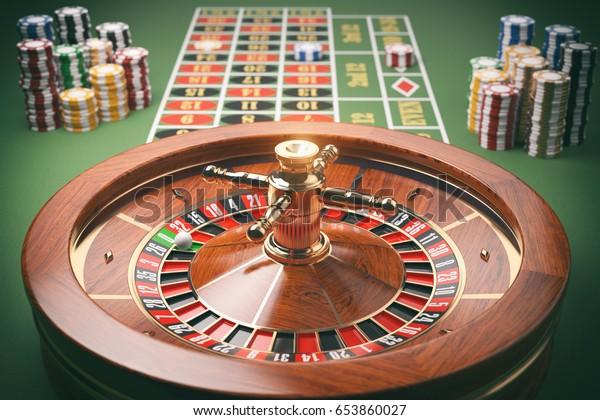 Casino Roulette Wheel Casino Chips On Stock Illustration 653860027