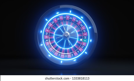 Casino Roulette Wheel Concept Design. Online Casino Gambling Roulette 3D Realistic With Neon Blue Lights - 3D Illustration