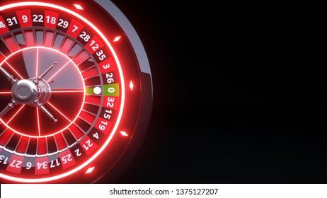 Casino Roulette Wheel Concept Design. Online Casino Gambling Roulette - 3D Illustration