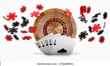 Casino roulette wheel and flying chips background with Royal Flush hand combination. Concept for poker, roulette and other casino games. 3D illustration