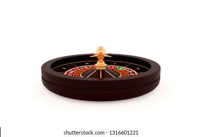 Casino roulette wheel isolated on white background. 3d rendering illustration.