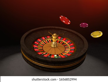 Casino roulette wheel on black background. Casino theme. Close-up white casino roulette with chips. Poker game table. 3d rendering illustration