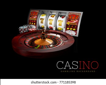 Casino Roulette Wheel with silver slot machine and casino chips. isolated black, 3D Rendering