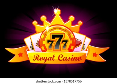 Casino Royal banner with ribbon and crown, icon and text. Symbols poker, 777, Playing Cards and game chip. Illustration for casino, slots, roulette and game UI. Similar JPG copy
