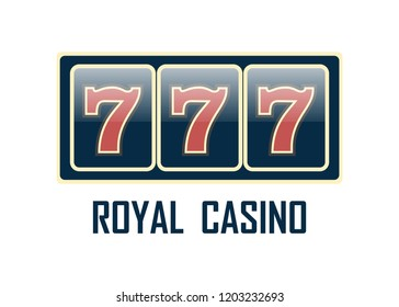 Casino sign set. Slot machine symbols. Lucky seven