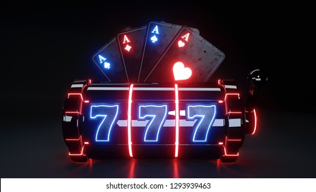 Casino Slot Machine and Aces Playing Cards With Glowing Lights Isolated On The Black Background - 3D Illustration