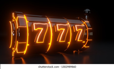 Casino Slot Machine Gambling Concept With Neon Orange Lights Isolated On The Black Background - 3D Illustration