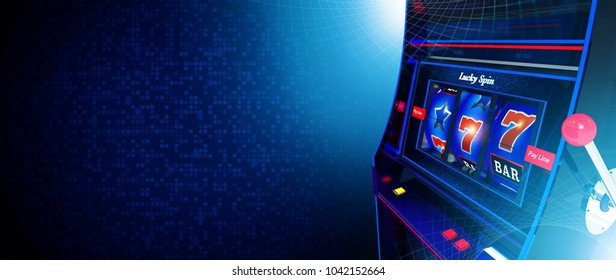 Casino Slot Machine Game Banner with Copy Space. Dark Blue Theme. 3D Rendered Illustration