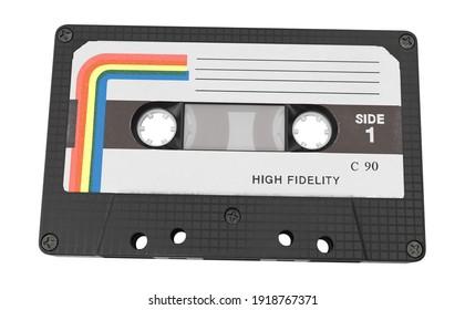 Cassette Tape 3D illustration on white background