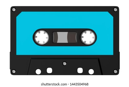 Cassette tape retro old style isolated on white. 3d illustration