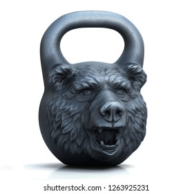 Cast iron design weight with bear head isolated on white background. 3D illustration.