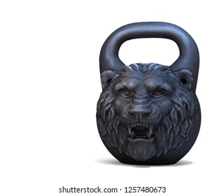 Cast iron design weight with lion head isolated on white background. 3D illustration.