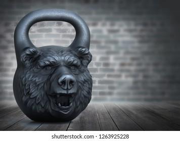 Cast iron kettlebell design with a bear head on a bricks wall background. 3D illustration.