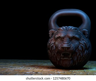 Cast iron kettlebell design with a lion head on a dark background. 3D illustration.