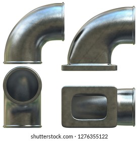 Cast metal elbows isolated on white. 3d rendering