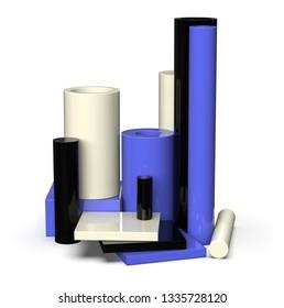 Cast nylon samples isolated on white. 3d rendering