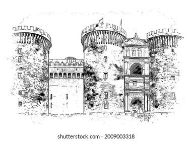 """Castel Nuovo """"New Castle"""", a historic medieval and renaissance castle, as well as one of the symbols of the city of Naples, Campania, Italy,"""