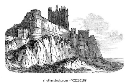 Castle Bamborough, vintage engraved illustration. Colorful History of England, 1837.