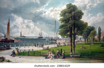 Castle Garden, New York, showing Bartholdi's Statue of Liberty. chromolithograph ca. 1887