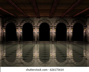 Castle hall and arches.3d illustration