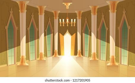 castle hall, interior of ballroom for dancing, presentation or royal reception. Big room with chandelier, closed windows. Open door, light illuminates columns, pillars in luxury medieval palace
