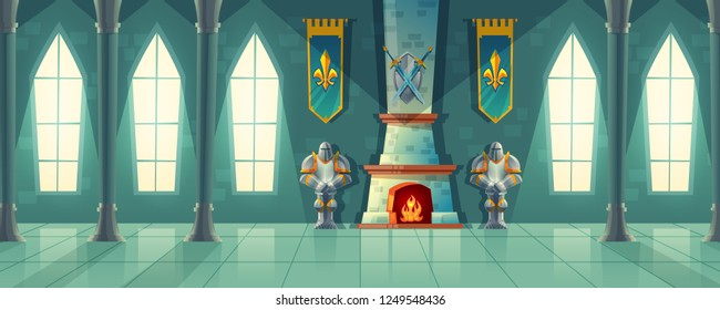 castle hall, interior of royal ballroom with fireplace, knight armor, flags for dancing. Big room with columns, pillars in luxury medieval palace. Fantasy, fairy tale or game background