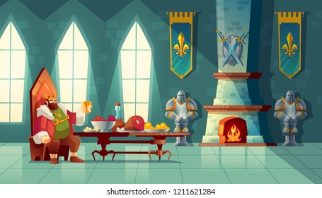 castle hall with king eats lunch. Feast table with food, banquet party. Interior of royal ballroom with throne for luxury banket. Cartoon furniture in medieval palace