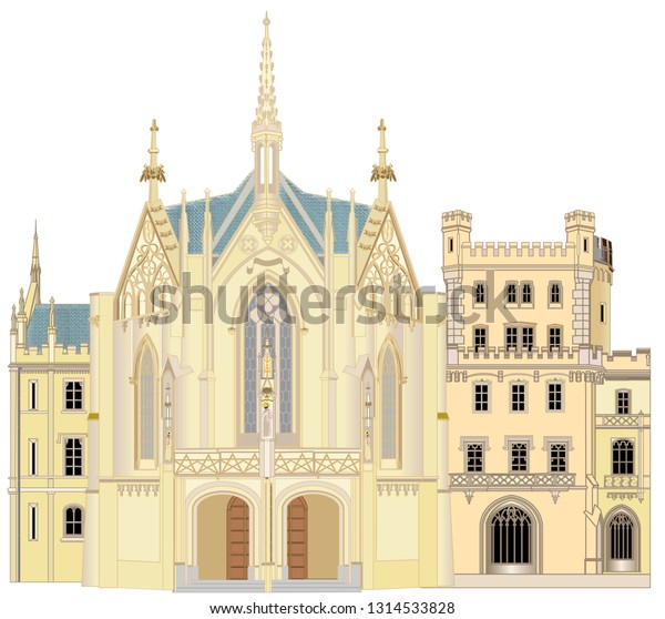 Castle Lednice in the Czech Republic is one of the most beautiful chateaus in the country. It is part of the Lednice-Valtice area. The castle is in the Neo-Gothic style. The large chapel has rearmamen