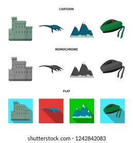 Castle, Loch Ness Monster, Grampian Mountains, national cap balmoral,tam shanter. Scotland set collection icons in cartoon,flat,monochrome style bitmap symbol stock illustration web.