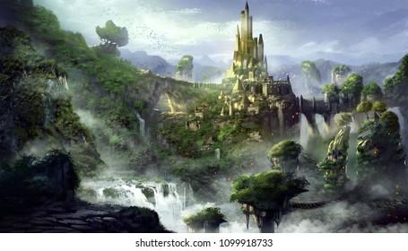 Замок горы с фантастическим, реалистичным и футуристическим стилем. Цифровая видеоигра CG, концептуальная иллюстрация, реалистичный мультфильм стиль сцены