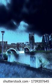 Castle on the river in Verona