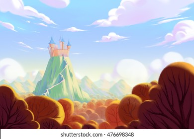 The Castle on the Top of Mountain. Video Game's Digital CG Artwork, Concept Illustration, Realistic Cartoon Style Background