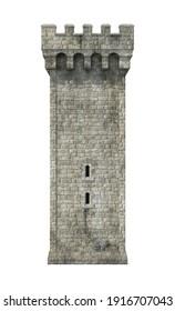 Castle Tower 3D illustration on white background