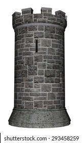 Castle tower isolated in white background - 3D render