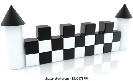 Castle of toy cubes in black and white colors.3d illustration