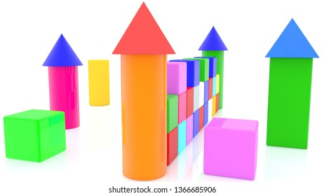 Castle of toy cubes with towers in various colors.3d illustration