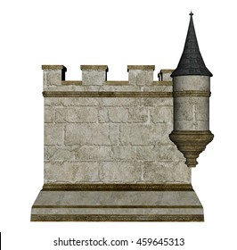 Castle wall and tower isolated in white background - 3D render