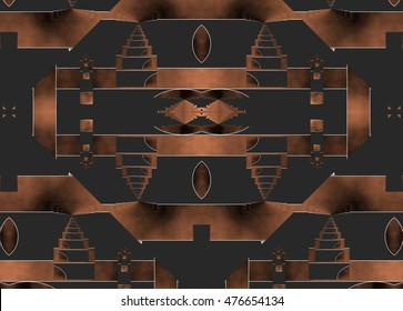 Castles in the air,symmetrical composition, kaleidoscopic, mirror effect,geometric composition tribute to Tesla, coppery color, dark background,illustration, spirals twist,  abstract expressionism,